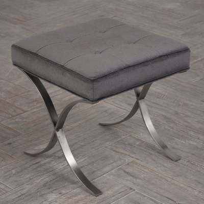 Mid Century Modern X Shaped Chrome Stool For Sale At Pamono