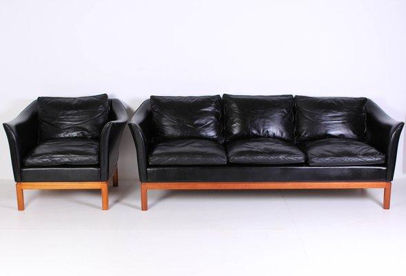 Dänisches Mid Century Leder Sofa Sessel Bei Pamono Kaufen