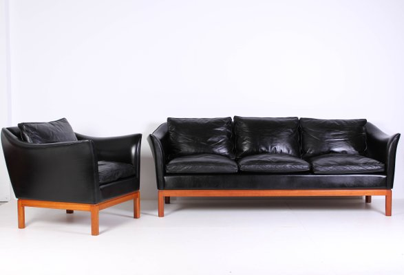Mid Century Danish Leather Sofa Lounge Chair 2