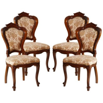 Italian Hand Carved Walnut Chairs, 1930s, Set Of 4 1