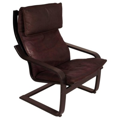 Ikea Poang Draaifauteuil.Pair Of Model Poang Leather Cantilever Chairs With Footrest By