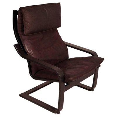 paire de fauteuils cantilever modle pong en cuir avec repose pied par noboru nakamura pour - Fauteuil Ikea Cuir