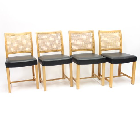 Swell Finnish Oak Leather Cane Dining Chairs By Carl Gustaf Hiort Af Ornas For Mikko Nupponen 1950S Set Of 4 Ncnpc Chair Design For Home Ncnpcorg