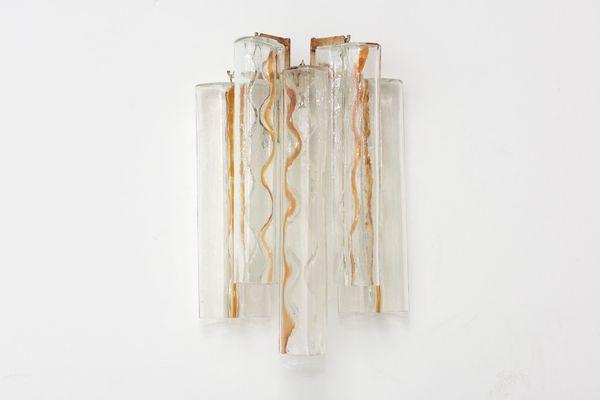 Coppia di applique da parete in vetro di murano anni design
