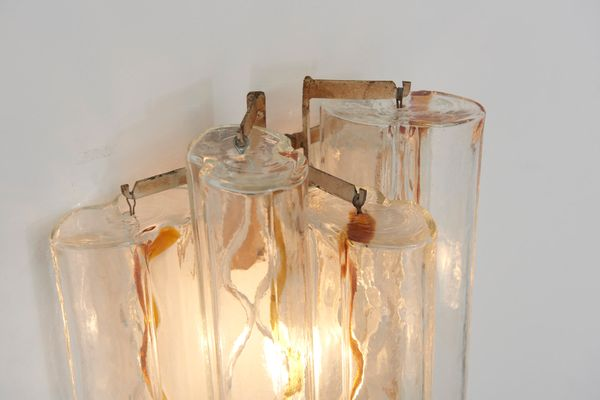 Applique da parete in vetro di murano di toni zuccheri per venini