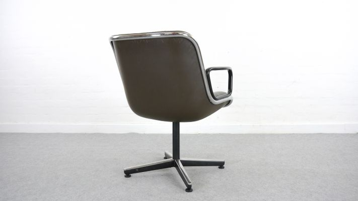Leather Executive Desk Chair By Charles Pollock For Knoll International,  1963 4