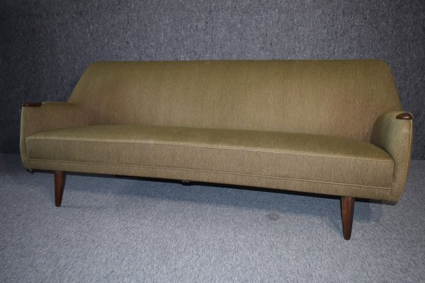 Mid-Century Modern Danish Sofa in Green Wool and Teak, 1960s