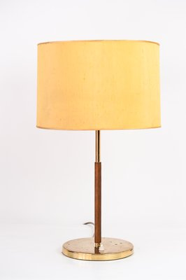 Table Lamp With Leather Stand Yellow Shade From Kalmar 1950s For