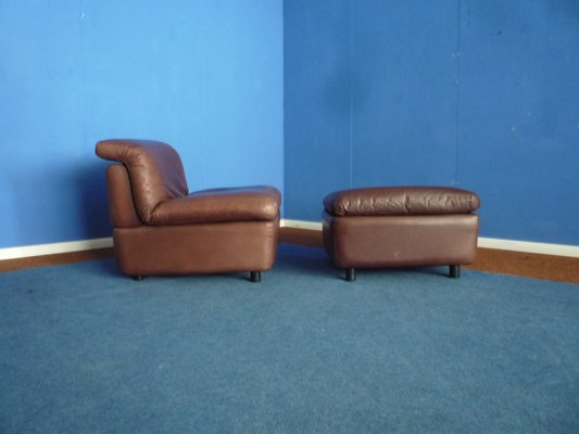 Leather Club Chair & Footstool from Rolf Benz, 1970s