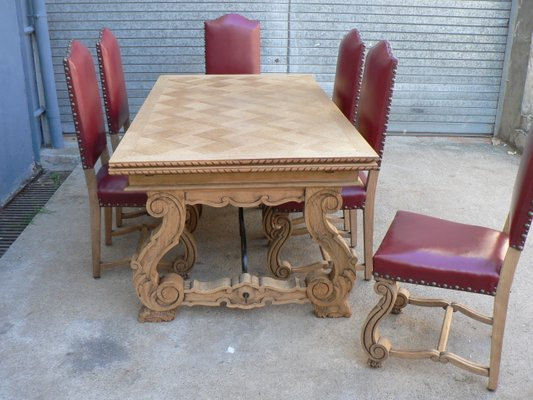 Regency Extendable Dining Table 6 Oak Chairs 1950s