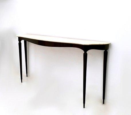 Table Console en Bois Noirci avec Plateau en Marbre Rose, 1950s