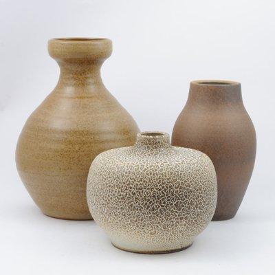 Mid Century Brown Glazed Ceramic Vases Set Of 3 For Sale At Pamono
