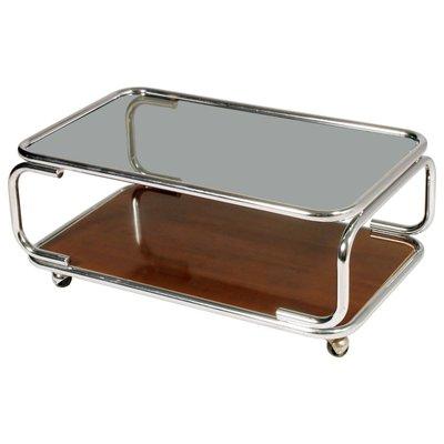 table basse a roulettes en chrome verre fume et bois synthetique stratifie italie 1960s 1