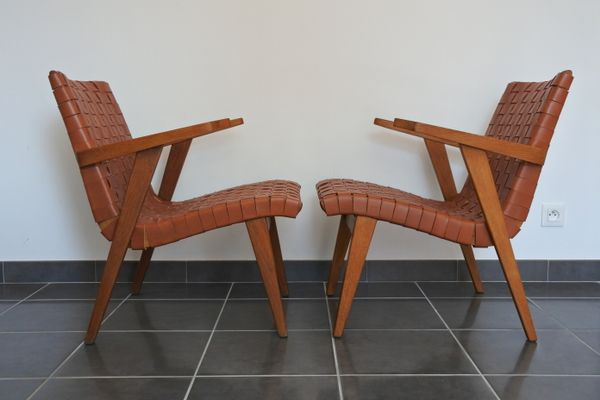 Leather Webbing U0026 Oak Lounge Chairs By Jens Risom For Knoll International,  1950s, Set