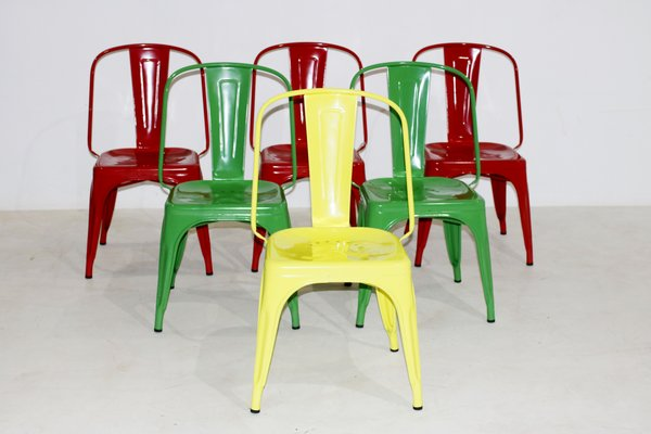 Terrific Vintage Chairs By Xavier Pauchard For Tolix Set Of 6 Theyellowbook Wood Chair Design Ideas Theyellowbookinfo