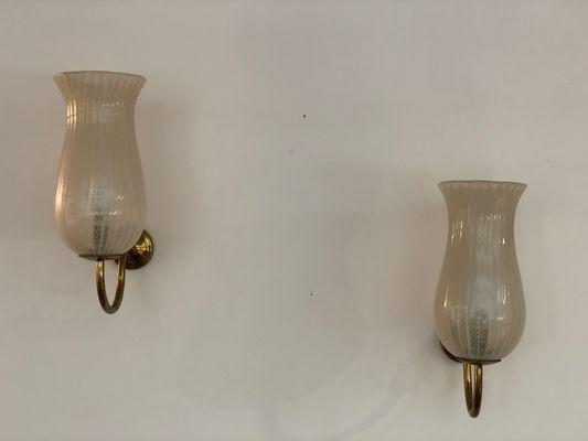 Applique in ottone e vetro zanfirico di venini anni 50 set di 2