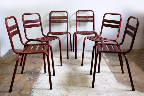 Model T2 Red Bistro Chairs From TOLIX, 1950s, Set Of 6 2