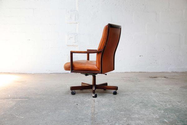 Design Ufficio Anni 60 : Sedia da ufficio in pelle color cognac di lübke anni in