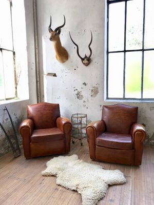 vintage leather club chairs. Vintage Leather Club Chairs, 1940s, Set Of 2 Chairs