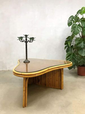 Vintage French Bamboo Coffee Table 4