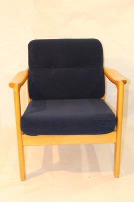 Scandinavian Armchair In Navy Blue Velvet Fabric, 1960s 2