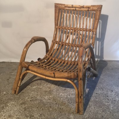 Large French Bamboo U0026 Rattan Armchair, 1960s 2