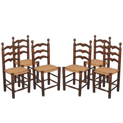 Sedute Per Sedie Di Legno.Sedie Vintage In Legno Di Noce Con Sedute In Paglia Set Di 6 In