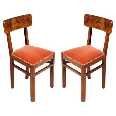 Art Deco Walnut Chairs Set Of 2 1