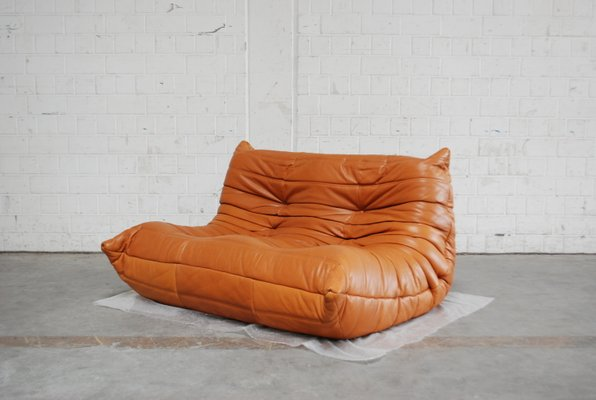 Togo Sofa In Cognac Leather By Michel