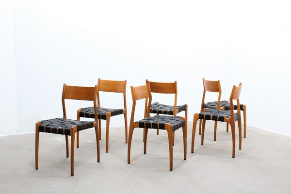 Sedie da pranzo nr. 993 vintage in pelle di studio tipi per montina
