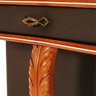 Sensational Mid Century Cherry Wood And Brown Leather Console Table Bralicious Painted Fabric Chair Ideas Braliciousco