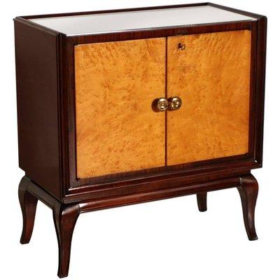 Art Deco Mahogany Burl Elm Mirror Gl Dry Bar Cabinet 1