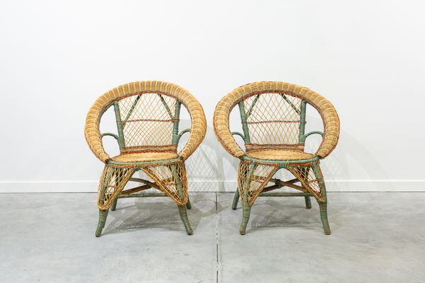 Vintage Wicker Chairs, Set Of 2 1