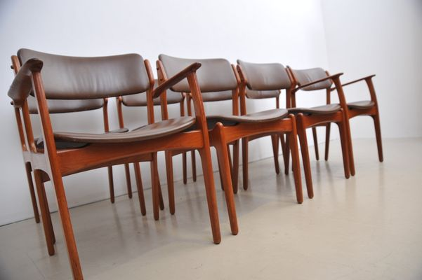 Teak & Leather Dining Chairs by Erik Buch for O D M¸bler 1960s Set of