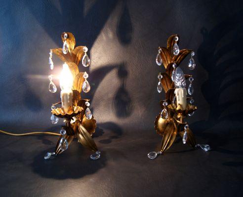 Applique dorate con gocce in cristallo anni 60 set di 2 in
