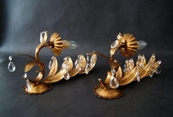 Applique dorate con gocce in cristallo anni set di in