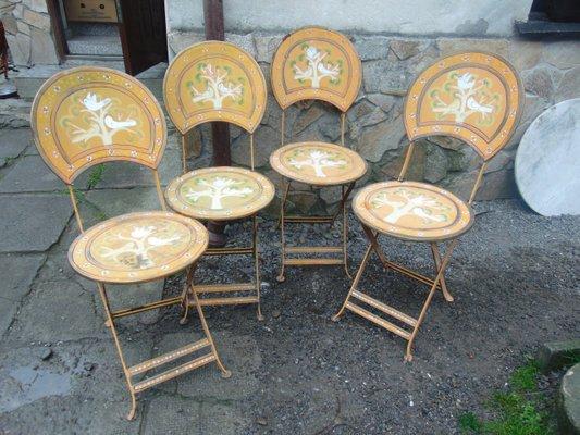 Sedie Da Giardino In Metallo.Sedie Da Giardino In Metallo Dipinto Anni 60 Set Di 4 In Vendita