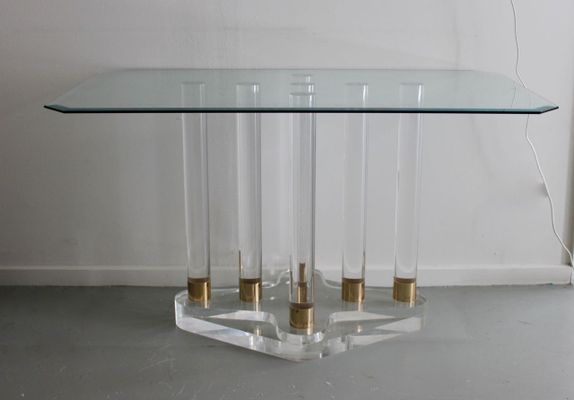 Lucite Console Table With Glass Top, 1980s 1