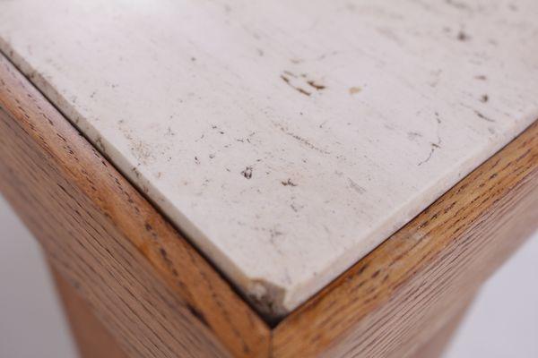 Vintage Square Travertine U0026 Light Oak Coffee Table 9