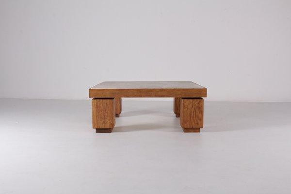 Ordinaire Vintage Square Travertine U0026 Light Oak Coffee Table 1