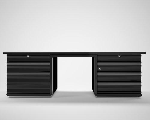 Bureau art déco noir avec tiroirs rouges en vente sur pamono