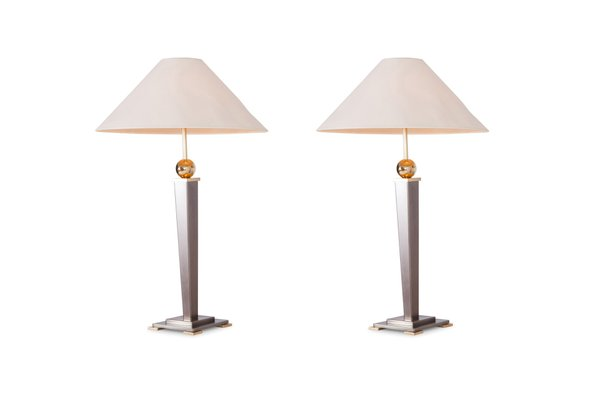 Vintage Brushed Steel Table Lamps From Belgo Chrom Set Of 2 1