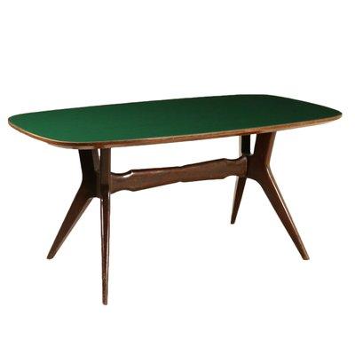 Tavolo da pranzo vintage in legno tinto e vetro trattato, Italia