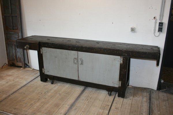 Tavolo da lavoro antico su ruote in vendita su pamono