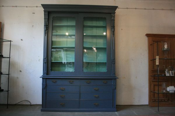 Large Antique Display Cabinet With Sliding Doors For Sale At Pamono