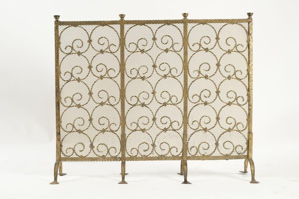 Gold Gilded Wrought Iron Fireplace Screen 1950s