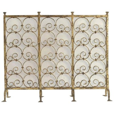 Gold Gilded Wrought Iron Fireplace Screen 1950s For Sale At Pamono
