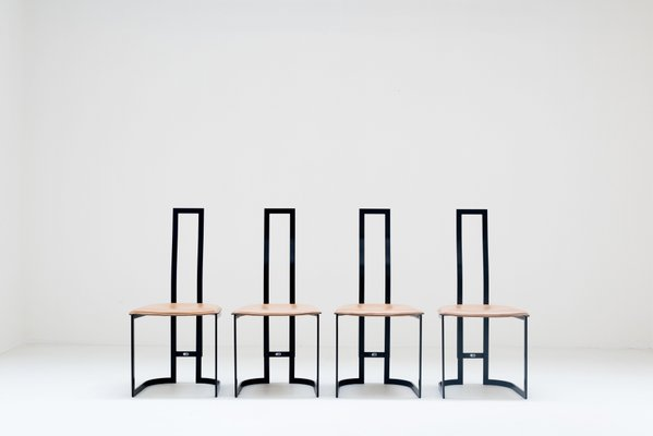 Thema Sedie E Tavoli.Sedie In Pelle Di Gastone Rinaldi Per Thema Anni 70 Set Di 4 In