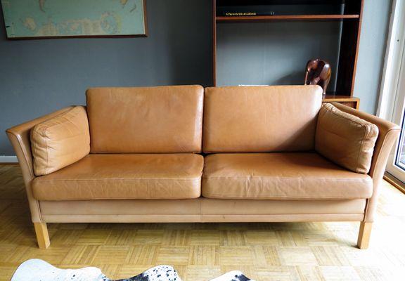 Vintage Danish Leather Sofas Armchair Set From Mogens Hansen