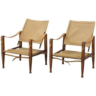Vintage Safari Chairs In Canvas By Kaare Klint For Rud. Rasmussen, Set Of 2